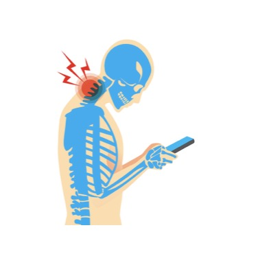 Skeleton with neck pain looking at smart phone